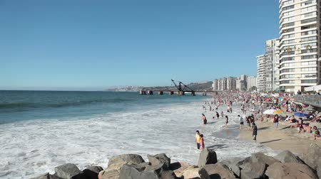 Vina del Mar, CHILE - January 30, 2011: Bathers on the Beach in Vina del Mar, During the summer season Stock Footage