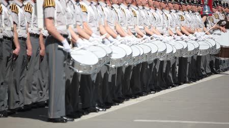 fegyelem : Santiago, Chile - September 15, 2011: Military Cadet band marching in a rehearsal of the Great Military Parade