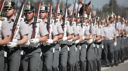 Santiago, Chile - September 15, 2011: Military Cadets marching in a rehearsal of the Great Military Parade