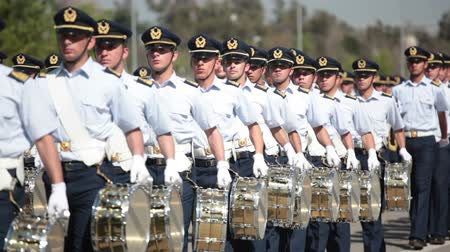 Santiago, Chile - September 15, 2011: Air Force Cadets marching in a rehearsal of the Great Military Parade Stock Footage