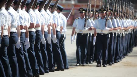 Santiago, Chile - September 15, 2011: Air Force Cadets marching in a rehearsal of the Great Military Parade Vídeos