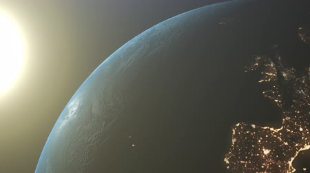 planety : Sunrise Over The Earth. Amazing View Of Planet Earth From Space. Hd
