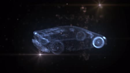 sports car of blue particles 3D animation Stock Footage