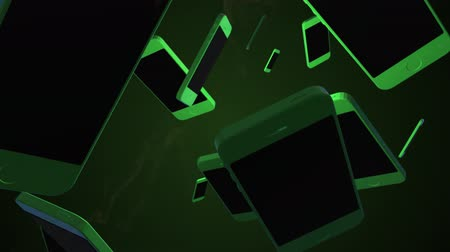 eletrônica : Rotating smartphone. 3D animation. Objects spinning.