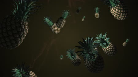 ananas : Splash of pineapple. 3D animation. Objects spinning. Dostupné videozáznamy