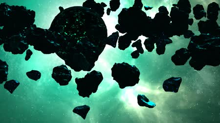 meteorite : Planet With Meteors In An Unknown Galaxy Stock Footage