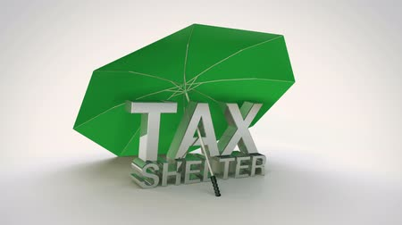 Tax Shelter Loop - Animation of tax shelter text under an umbrella. Animation is a seamless loop. Stock Footage