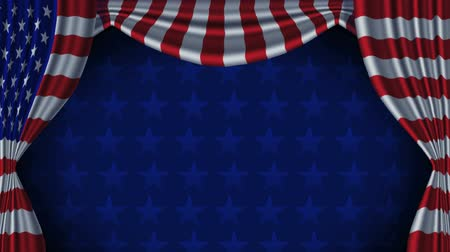 USA Flag Curtain Background Animation Loop With Alpha - Animation of American flag curtains. Contains matte channel. Animation seamlessly loops starting at 7 seconds 15 frames.
