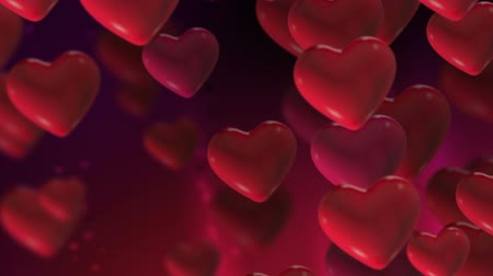 hayran olmak : Valentines Heart Loop 1 - Seamlessly loopable animation of floating hearts with large foreground heart to be used as copy space. Stok Video