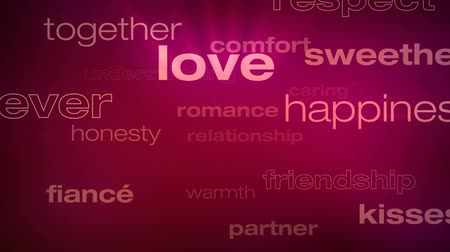 companionship : Love and Relationship Words Loop - Seamless animation loop of various buzzwords pertaining to love and relationships.