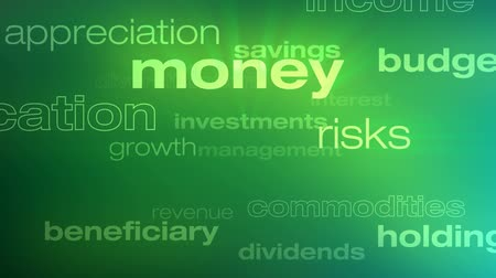 Money and Investment Words Loop - Seamless animation loop of various buzzwords pertaining to money and investments.