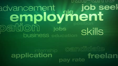 Jobs and Employment Words Loop - Seamless animation loop of various buzzwords pertaining to jobs and employment.