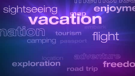 Travel and Vacation Words Loop - Seamless animation loop of various buzzwords pertaining to travel and vacation. Stock Footage