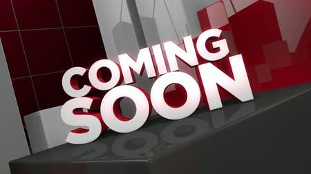"Coming Soon - 3D animation of the words ""Coming Soon"" in an environment of cubes and rectangles. Stock Footage"