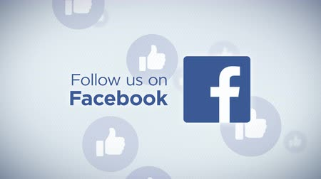 Follow Us On Facebook Loop - Seamless looping animation of Follow Us On Facebook with floating thumb icons in the background. Stock Footage