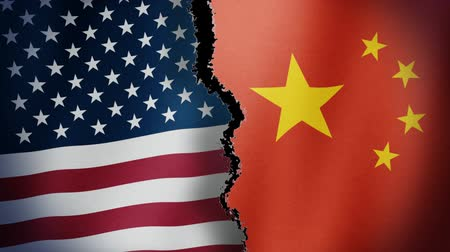 válka : Torn United States China Flag Loop - Seamless looping animation of torn United States of America and China flag.
