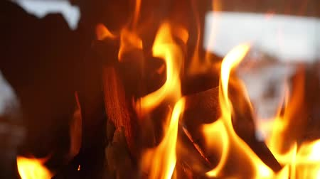 yanma : Closeup Of Fire Burning On Fireplace In Slow Motion footage