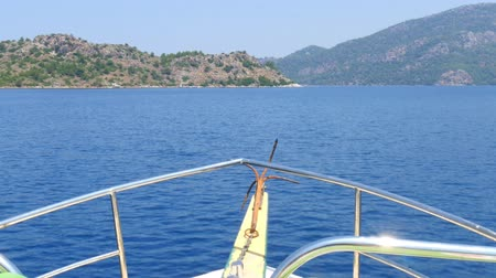 água do mar : Beautiful view of sailing yacht into Marmaris. Aegean sea. Turkey.