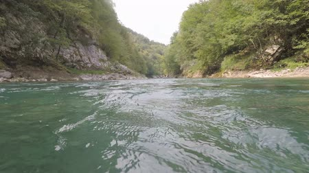 Rafting on the river Tara in the summer, Montenegro. Stock Footage