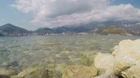 View of Budva from shore of island of St. Nicholas in Adriatic Sea
