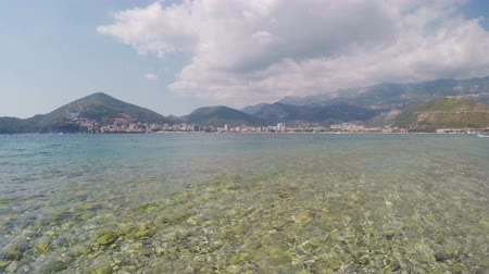 адриатический : View of City of Budva from Adriatic Sea, Montenegro