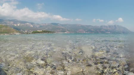 budva : View of Budva from shore of island of St. Nicholas in Adriatic Sea