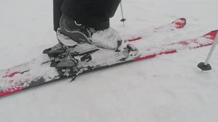 ski boots : skier puts on skis, close-up Stock Footage