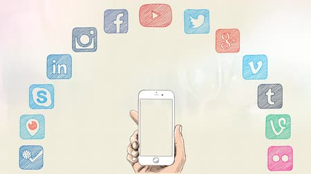 sosyal : social media icons smart phone concept