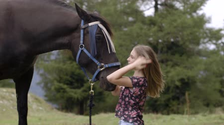 trusting : Girl petting horse Stock Footage