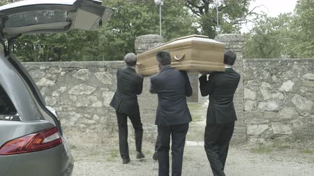 hearse : Pallbearers in Hearse arriving with coffin at graveyard Stock Footage