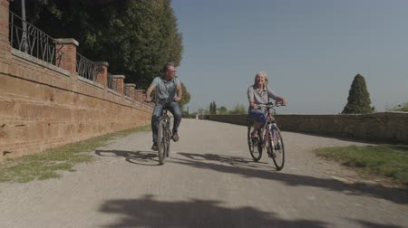 Senior couple cycling on electric bicycles Stok Video