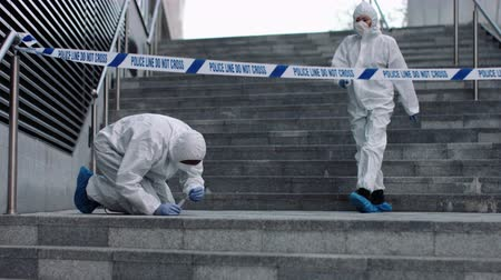forensic : Forensic science team working on police investigation site