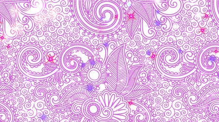 Пейсли : Particles - White, Lavender, Rose, Red Looping on Purple Paisley Color-Changing 3D motion looping background. Animated screensaver with sparkling glitter, sparks, and moving lights. Seamless loop. Стоковые видеозаписи