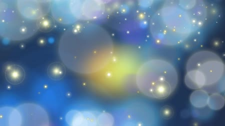 боке : Particles - Dark Blue Looping - Animated screensaver with lens blur of golden sparkling glitter, sparks, and moving lights on blue - 3D motion looping background. Progressive scan. Seamless loop. Стоковые видеозаписи