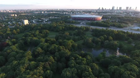 cityspace : Poland - Aerial footage flying into Warsaw Poland coming up to Warsaw National Stadium