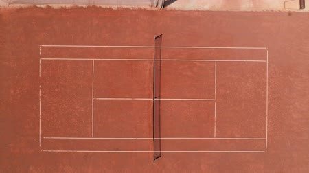Tennis Clay Court, 4K. View From The Birds Flight. Stok Video