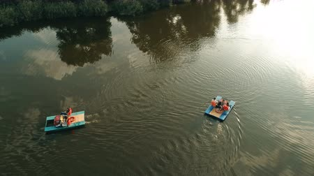 Catamarans Are Floating In The River.