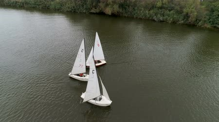 Small boats run by young people. Competition. Yachts sail to the sea. Regatta. Races of sailing sports courts.