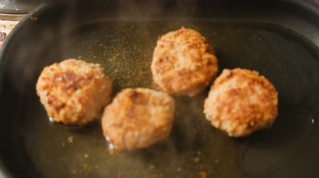 Cutlets From Minced Meat Fried In A Skillet Stok Video