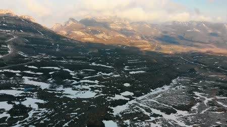 montana : Aerial plane snowy landscape Stock Footage