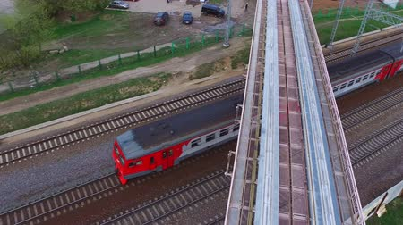 modern train wagon : Aerial Moscow Trains Monorail In Motion
