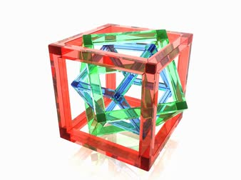 marco internacional : Abstract geometry, full rotation loop. Red, green and blue wire-frame glass cubes within each other