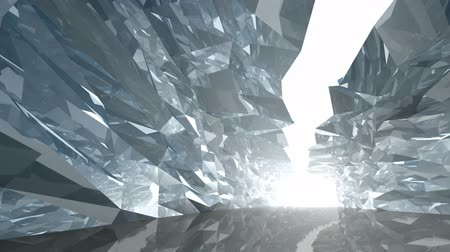 don : Abstract 3d motion background. Slow movement along bent crystal corridor with rugged walls and glowing end Stok Video