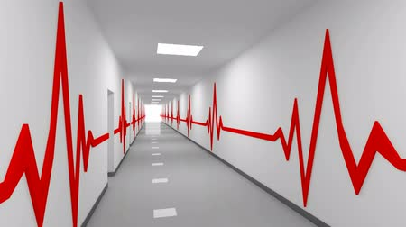 ambulância : Hospital corridor with red pulse lines and glowing end