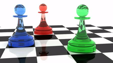 xadrez : Three classical shaped pawns made of different colored glass (RGB color scheme) on chess board. 3d render animation with full rotation loop.   Vídeos
