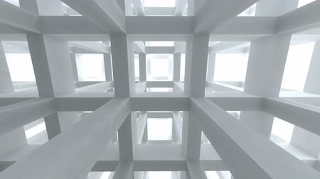 оказывать : Move through modern light blue abstract girder construction. 3d render animation Стоковые видеозаписи