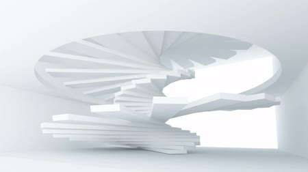 asansör : White abstract architecture interior with spiral stairs installation. Full rotation endless loop