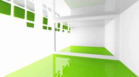 оказывать : Abstract architecture background. Empty white and green modern room interior with decorated motion light wall