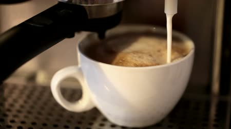 xícara de café : Foamy milk flows into a big white cup of cappuccino