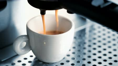 xícara de café : White ceramic cup in a coffee machine, espresso preparing Stock Footage